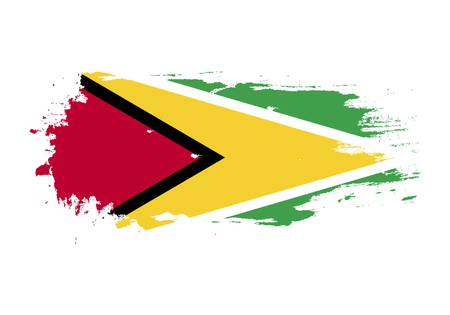 Grunge brush stroke with Guyana national flag. Watercolor painting flag. Symbol, poster, banner. Vector Isolated on white background.