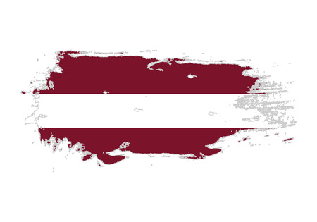 Grunge brush stroke with Latvia national flag. Watercolor painting flag. Symbol, poster, banner. Vector Isolated on white background. Illustration