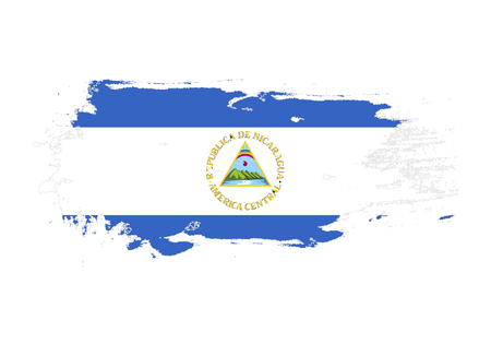 Grunge brush stroke with Nicaragua national flag. Watercolor painting flag. Symbol, poster, banner. Vector Isolated on white background. Vetores
