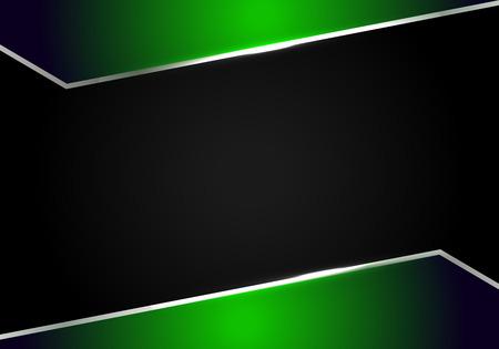 Fondo de plantilla de diseño de tecnología moderna diseño de marco negro verde metálico abstracto