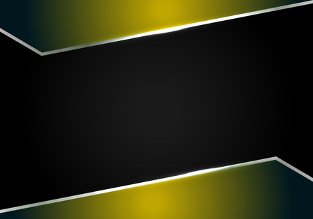 abstract metallic Yellow black frame layout modern tech design template background