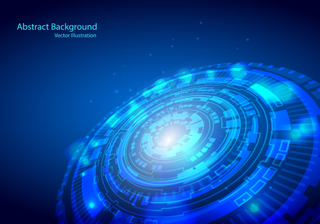 Futuristic interface, HUD, techno circle, Vector abstract technology design on blue background.