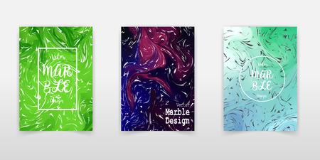 Ocher Marble Ink Texture Cover Set. Liquid Oil Paint A4 Vector Trendy Magazine Design. Ebru Ink Wash Elegant VIP Package Background. Corporate Identity Marble Ink Texture Cover, Paper.