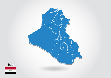 iraq map design with 3D style. Blue iraq map and National flag. Simple vector map with contour, shape, outline, on white. Stock Illustratie