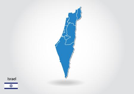 disegno della mappa di Israele con stile 3D. Mappa blu di Israele e bandiera nazionale. Mappa vettoriale semplice con contorno, forma, contorno, su bianco.