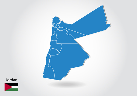 Jordan map design with 3D style. Blue Jordan map and National flag. Simple vector map with contour, shape, outline, on white.