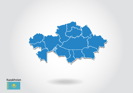 Kazakhstan map design with 3D style. Blue Kazakhstan map and National flag. Simple vector map with contour, shape, outline, on white.  イラスト・ベクター素材