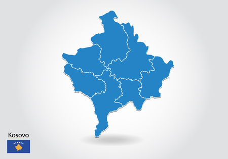 Kosovo map design with 3D style. Blue Kosovo map and National flag. Simple vector map with contour, shape, outline, on white.