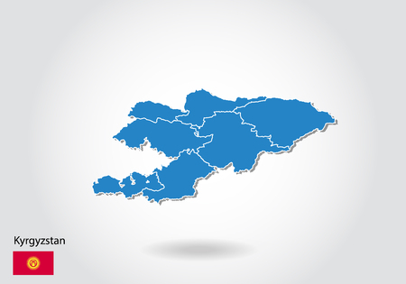 Kyrgyzstan map design with 3D style. Blue Kyrgyzstan map and National flag. Simple vector map with contour, shape, outline, on white.