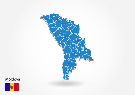 Moldova map design with 3D style. Blue Moldova map and National flag. Simple vector map with contour, shape, outline, on white.