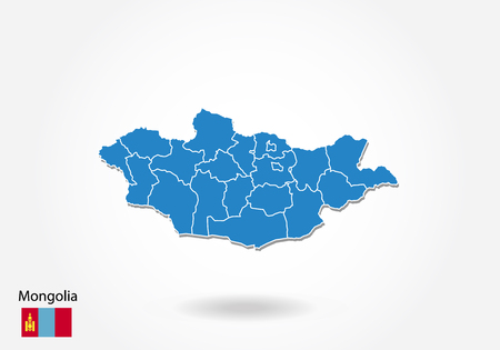 Mongolia map design with 3D style. Blue Mongolia map and National flag. Simple vector map with contour, shape, outline, on white.
