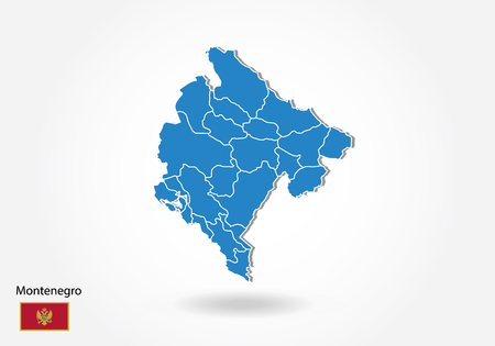 Montenegro map design with 3D style. Blue Montenegro map and National flag. Simple vector map with contour, shape, outline, on white.