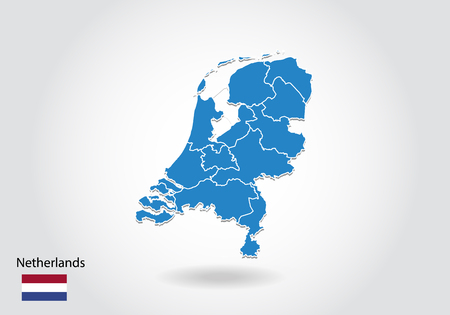 Netherlands map design with 3D style. Blue Netherlands map and National flag. Simple vector map with contour, shape, outline, on white.