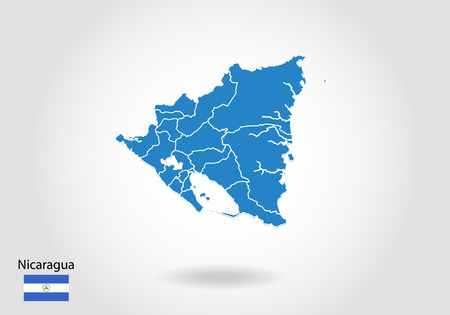 nicaragua map design with 3D style. Blue nicaragua map and National flag. Simple vector map with contour, shape, outline, on white.