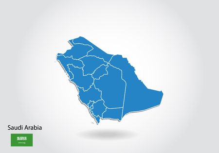 Saudi Arabia map design with 3D style. Blue Saudi Arabia map and National flag. Simple vector map with contour, shape, outline, on white.