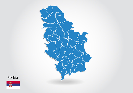 Serbia map design with 3D style. Blue Serbia map and National flag. Simple vector map with contour, shape, outline, on white.