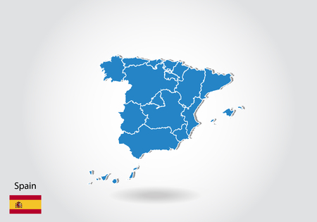 Spain map design with 3D style. Blue Spain map and National flag. Simple vector map with contour, shape, outline, on white. Illustration
