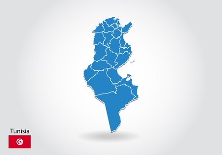 tunisia map design with 3D style. Blue tunisia map and National flag. Simple vector map with contour, shape, outline, on white.