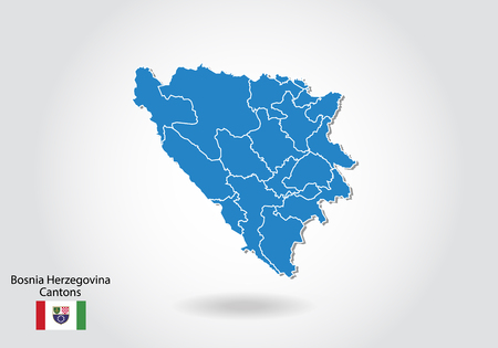 bosnia Herzegovina Cantons map design with 3D style. Blue bosnia Herzegovina map and National flag. Simple vector map with contour, shape, outline, on white.