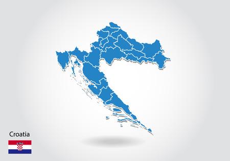 Kroatien Kartendesign mit 3D-Stil. Blaue Kroatien-Karte und Nationalflagge. Einfache Vektorkarte mit Kontur, Form, Umriss, auf Weiß. Vektorgrafik