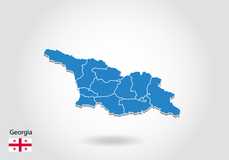 georgia map design with 3D style. Blue georgia map and National flag. Simple vector map with contour, shape, outline, on white. 일러스트