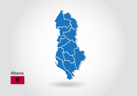 albania map design with 3D style. Blue albania map and National flag. Simple vector map with contour, shape, outline, on white.