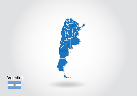 Argentina map design with 3D style. Blue Argentina map and National flag. Simple vector map with contour, shape, outline, on white. 向量圖像