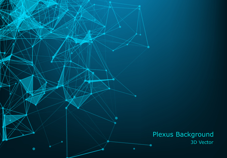 Niedriger poly-dunkler Hintergrund des abstrakten polygonalen Raums mit Verbindungspunkten und -linien. Verbindungsstruktur. Futuristischer polygonaler Hintergrund. Dreieckige Geschäftstapete.