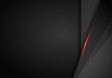 Fondo automotriz de cuero cromado. Fondo metálico negro y rojo. Ilustración vectorial