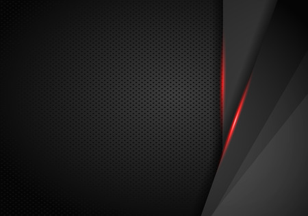 Skórzany chrom samochodowych tło. Czarne i czerwone metaliczne tło. Ilustracja wektorowa