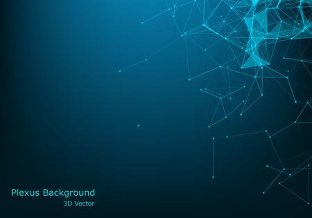 Network connection concept blue vector illustration. Futuristic hexagon perspective wide angle lanscape. Futuristic honeycomb concept. 3d landscape. Big data digital background. Vettoriali