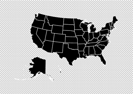 usa map - High detailed Black map with counties/regions/states of united state of America. us map isolated on transparent background.