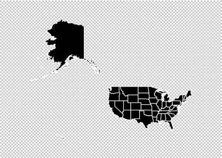 USA Mercator map - High detailed Black map with counties/regions/states of USA Mercator. USA Mercator map isolated on transparent background.