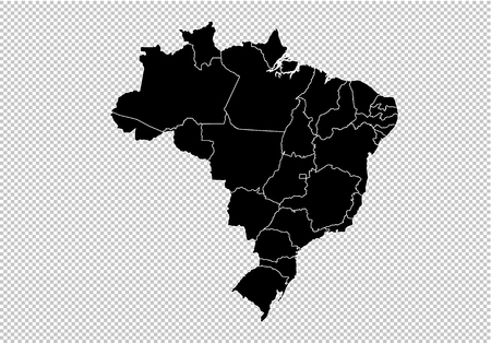 brazil map - High detailed Black map with counties/regions/states of brazil. Afghanistan map isolated on transparent background. Standard-Bild - 124517231