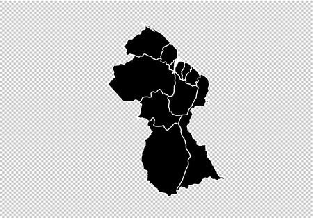 guyana map - High detailed Black map with counties/regions/states of guyana. guyana map isolated on transparent background.