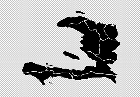 haiti map - High detailed Black map with countiesregionsstates of haiti. haiti map isolated on transparent background.