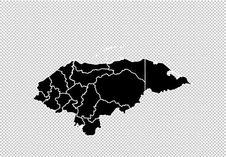 honduras map - High detailed Black map with countiesregionsstates of honduras. honduras map isolated on transparent background.