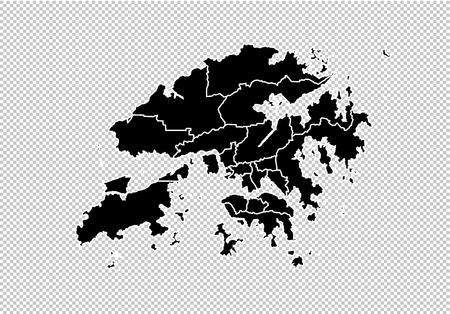 hong Kong map - High detailed Black map with countiesregionsstates of hong Kong. hong Kong map isolated on transparent background.