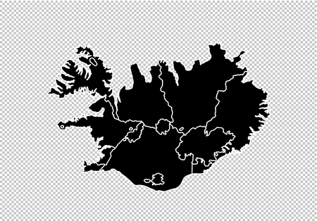 iceland map - High detailed Black map with countiesregionsstates of iceland. iceland map isolated on transparent background.