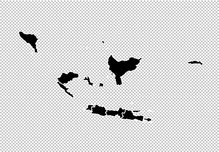 indonesia map - High detailed Black map with countiesregionsstates of indonesia. indonesia map isolated on transparent background.
