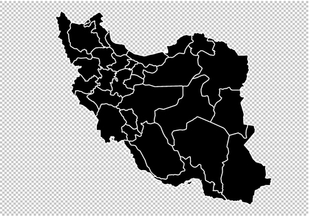 iran map - High detailed Black map with countiesregionsstates of iran. iran map isolated on transparent background.
