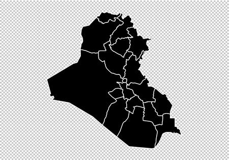 carte de l'irak - Carte noire très détaillée avec les comtés/régions/états de l'irak. carte de l'irak isolé sur fond transparent. Vecteurs