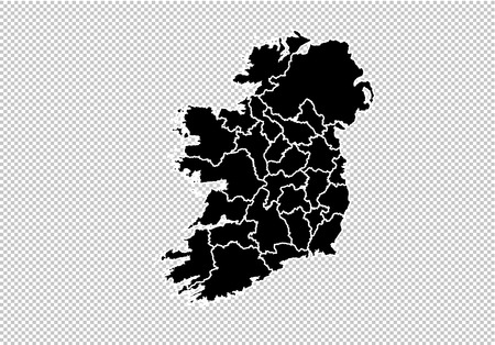 ireland map - High detailed Black map with countiesregionsstates of ireland. ireland map isolated on transparent background.