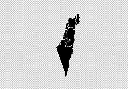 israel map - High detailed Black map with countiesregionsstates of israel. israel map isolated on transparent background. Illustration