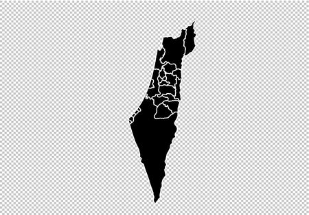 israel Palestine map - High detailed Black map with countiesregionsstates of israel Palestine. israel Palestine map isolated on transparent background.
