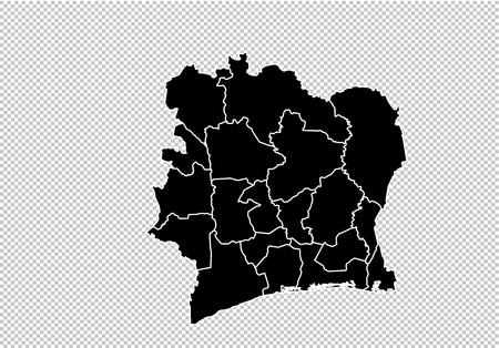 ivory Coast map - High detailed Black map with countiesregionsstates of ivory Coast. ivory Coast map isolated on transparent background.