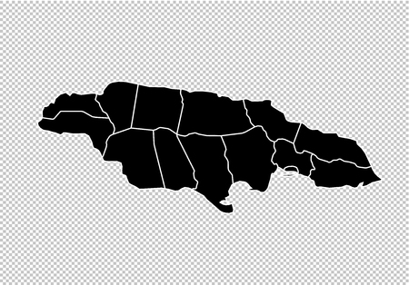 jamaica map - High detailed Black map with countiesregionsstates of jamaica. jamaica map isolated on transparent background.