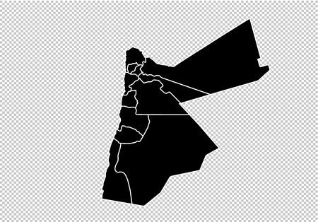 jordan map - High detailed Black map with countiesregionsstates of jordan. jordan map isolated on transparent background. Illustration