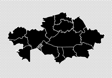 kazakhstan map - High detailed Black map with countiesregionsstates of kazakhstan. kazakhstan map isolated on transparent background.