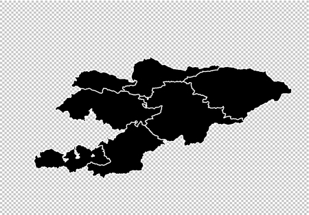 kyrgyzstan map - High detailed Black map with countiesregionsstates of kyrgyzstan. kyrgyzstan map isolated on transparent background. Illustration